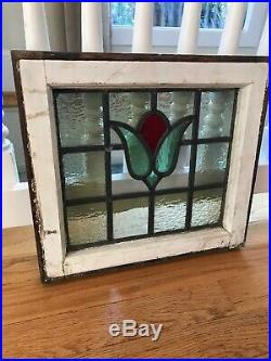 Pair of Antique Stained Glass Windows Stunning three (3) color Tulips EUC
