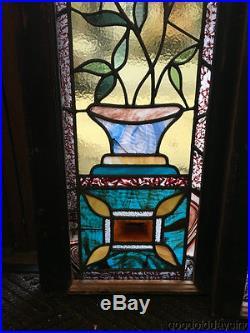 Pair of Victorian Stained Leaded Glass Sidelights Windows 42 by 14