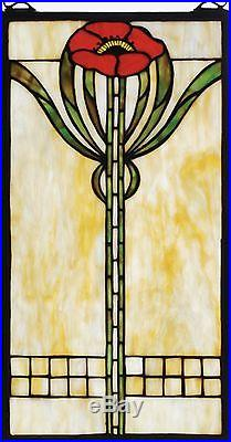 Parker Poppy Stained Glass Arts and Crafts Movement Window 20 inches Tall