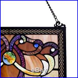 River of Goods Brandi's Amber Stained Glass 26-inch Window Panel M
