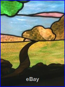 SG 2905 antique stained-glass Rudy brothers landscape window 32.5 x 29H
