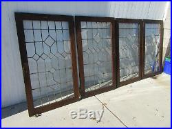 Set Of 4 Leaded Stained Glass Cabinet Doors In Oak 28 X 48 Each Salvage