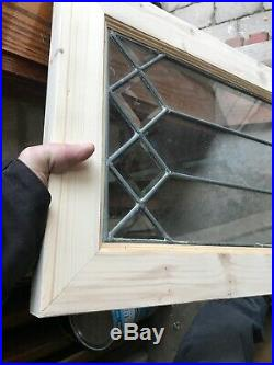 Sg 3086 Antique Beveled Square and leaded glass window 16.75 x 32.25