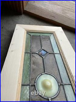 Sg 3713 Antique Stained Glass Transom Window Jewels And Rondell 11.75 x 30