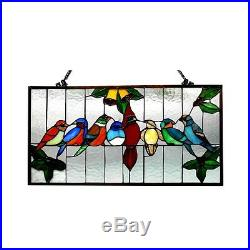 Singing Birds on Wire Tiffany Style Stained Glass Window Panel 12.5 x 24.5