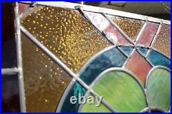 Small Hanging Victorian Antique Leaded Glass Window With All Color Glass