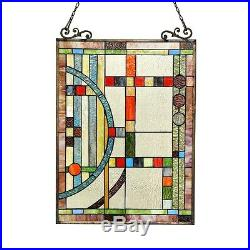 Stained Cut Glass Tiffany Style Window Panel Contemporary Design 17.5 x 25