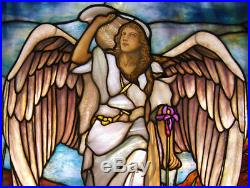 Stained Glass Angel Window Attr Tiffany, Antique #7547