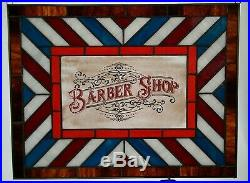 Stained Glass Barber Shop Sign Old Fashioned Vintage Antique Style Window