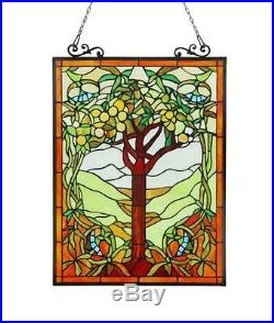 Stained Glass Chloe Lighting Fruits Of Life Window Panel 18X25 Handcrafted New