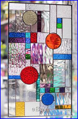 Stained Glass Tiffany Style Window Frank Lloyd Wright Abstract Geometric RV Door