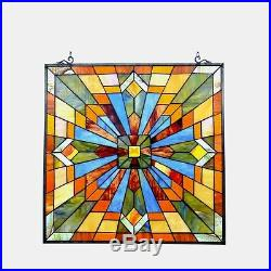 Stained Glass Tiffany Style Window Panel Arts & Crafts Mission Design 24 x 24