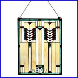 Stained Glass Tiffany Style Window Panel Mission Arts & Crafts 17.6 x 24.25