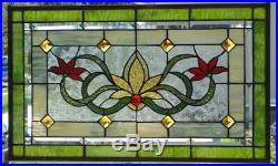 Stained Glass Transom window hanging 25 X 15 1/2 Brass frame (edging)