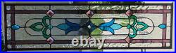Stained Glass Transom window hanging 34 X 10 Brass Frame (edging)