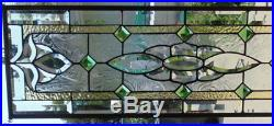 Stained Glass Transom window hanging 35 X 11 Brass Border edging
