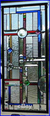 Stained Glass Window Abstract Hanging 32 X 14 1/2