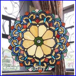 Stained Glass Window Panel 18 Wide Handcrafted Victorian Tiffany Style