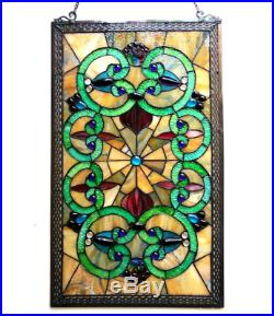 Stained Glass Window Panel Art Tiffany Style Hanging Wall Home Decor 17 x 28