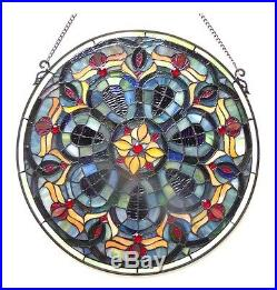 Stained Glass Window Panel Handcrafted 20 Diameter Round Victorian Design
