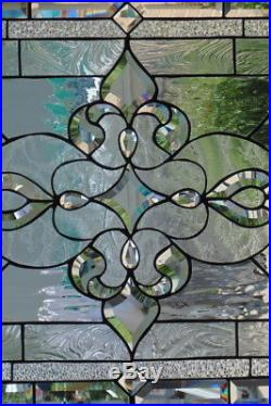 Stained Glass window hanging 29 1/2 X 23 Brass border (edging)
