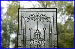 Stunning Handcrafted stained glass Clear Beveled window panel, 20 x 34.25