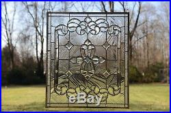 Stunning Handcrafted stained glass Clear Beveled window panel, 24 x 28