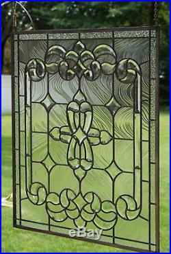 Stunning Tiffany Style stained glass Clear Beveled window panel, 24 x 28.25