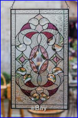 Tiffany Stained Glass Window Elegant Victorian Beveled Pieces Window Panel