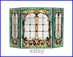 Tiffany Style Fire Guard Victorian Fireplace Screen Folding Stained Glass Window