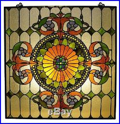Tiffany Style Handcrafted Stained Glass Window Panel Great Colors! 25 x 25