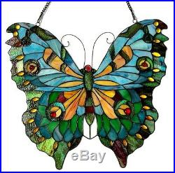 Tiffany Style Large Butterfly Design Stained Cut Glass Window Panel Suncatcher