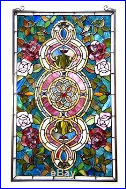 Tiffany Style Stained Glass Panel LAST ONE THIS PRICE Medallion Design 20 X 32