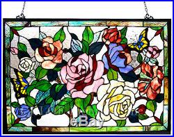 Tiffany Style Stained Glass Window Panel 27 x 19 Butterfly & Roses Floral