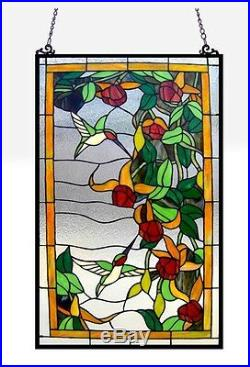 Tiffany Style Stained Glass Window Panel Hummingbirds 32 Tall x 20 Wide