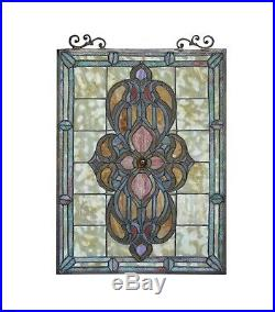Tiffany Style Stained Glass Window Panel Victorian Medallion Design 18 x 25
