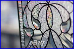 Tiffany Style Stained Stain Glass Window Diamonds Victorian Beveled Iridiscent