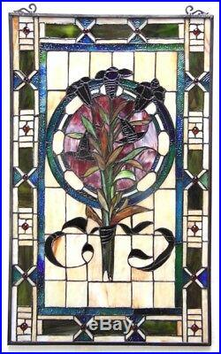 Tulip Floral Stained Glass Hanging Window Panel Home Decor Suncatcher 20 x 32