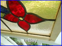 V-102 Lovely English Transom Style Lead Stain Glass Window Reframed 2 Available