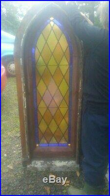 VICTORIAN GOTHIC ANTIQUE LEADED CHURCH STAINED GLASS WINDOW, NICE SIZE, With FRAME