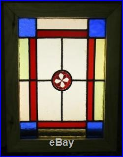 VICTORIAN OLD ENGLISH LEADED STAINED GLASS WINDOW Pretty Floral Jewel 9 x 12