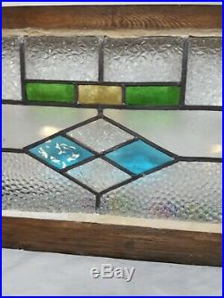 VINTAGE-Leaded-Stained-Pebble GLASS ARCHITECTURAL SALVAGE WINDOW 21 x 12