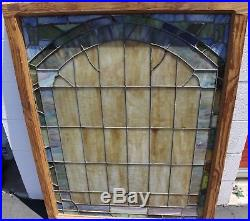 Vintage Antique Church Leaded Stained Glass Windows Multi-Colored Tiles 36x47