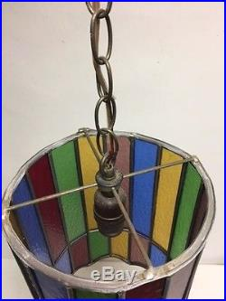 Vintage Stained Glass Leaded Light Chandelier Old Retro 8 Available