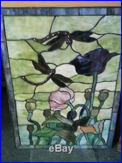 Vintage stained glass window pair
