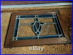 Vtg Antique Old English Wood Framed Leaded Stained Glass Hanging Window Decor