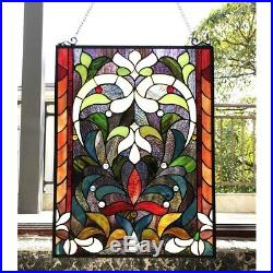 Window Panel Victorian Stained Cut Glass Tiffany Style 18 X 24 Colorful