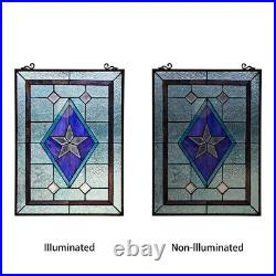 Window Panel Victorian Star Stained Cut Glass Tiffany Style 18 x 25