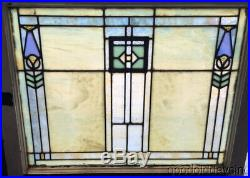 Wonderful Pair of Arts & Crafts Antique Stained Leaded Glass Windows 30 by 25